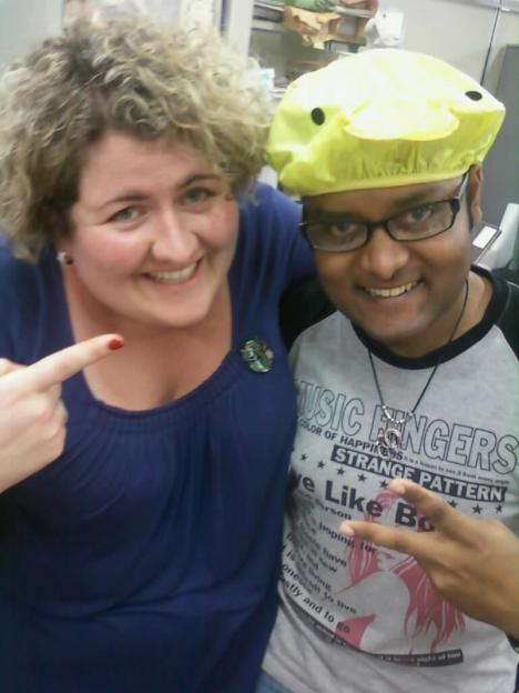 With Salman and his brand-new quacky shower cap!